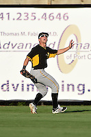 Bradenton Marauders outfielder Jeff Roy (2) tracks a fly ball during a game against the Charlotte Stone Crabs on April 4, 2014 at Charlotte Sports Park in Port Charlotte, Florida.  Bradenton defeated Charlotte 9-1.  (Mike Janes/Four Seam Images)