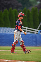 Lowell Spinners catcher Samuel Miranda (20) during a game against the Batavia Muckdogs on July 12, 2017 at Dwyer Stadium in Batavia, New York.  Batavia defeated Lowell 7-2.  (Mike Janes/Four Seam Images)