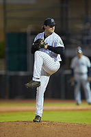 Pulaski Yankees relief pitcher Brett Morales (34) in action against the Princeton Rays at Calfee Park on July 14, 2018 in Pulaski, Virginia. The Rays defeated the Yankees 13-1.  (Brian Westerholt/Four Seam Images)