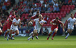 Guiness Pro12<br /> Ulster center Stuart Olding bursts through the middle of the Scarlets defence.<br /> Scarlets v Ulster<br /> Parc y Scarlets<br /> <br /> 06.09.14<br /> ©Steve Pope-SPORTINGWALES