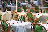 Empty restaurant tables, Bordeaux, France.
