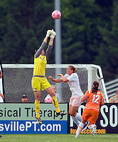 Sky Blue FC  goalkeeper Karen Bardsley (1) makes a save as St Louis Athletica forward Christie Welsh (23) pressures during a WPS match at Anheuser-Busch Soccer Park, in St. Louis, MO, June 7, 2009. Athletica won the match 1-0.