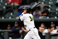 First baseman Dash Winningham (34) of the Columbia Fireflies gets an RBI hit for the South team in the South Atlantic League All-Star Game on Tuesday, June 20, 2017, at Spirit Communications Park in Columbia, South Carolina. The game was suspended due to rain after seven innings tied, 3-3. Winningham was named Most Valuable Player of the game.  (Tom Priddy/Four Seam Images)
