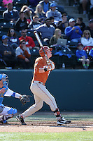 Patrick Mathis (33) of the Texas Longhorns bats against the UCLA Bruins at Jackie Robinson Stadium on March 12, 2016 in Los Angeles, California. UCLA defeated Texas, 5-4. (Larry Goren/Four Seam Images)