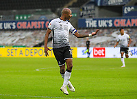 31st October 2020; Liberty Stadium, Swansea, Glamorgan, Wales; English Football League Championship Football, Swansea City versus Blackburn Rovers; Andre Ayew of Swansea City celebrates after scoring his sides second  goal in the 61st minute to make the score 2-0
