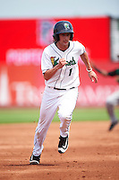 Cedar Rapids Kernels shortstop Sean Miller (1) running the bases during a game against the Dayton Dragons on July 24, 2016 at Perfect Game Field in Cedar Rapids, Iowa.  Cedar Rapids defeated Dayton 10-6.  (Mike Janes/Four Seam Images)
