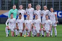 team picture Switserland ( Swiss Goalkeeper Seraina Friedli (21) , Swiss Svenja Folmli (17) , Swiss Julia Stierli (2) , Swiss Luana Buhler (15) , Swiss Riola Xhemaili (18) , Swiss Ramona Bachmann (10) and Swiss Vanessa Bernauer (22) , Swiss Eseosa Aigbogun (19) , Swiss Geraldine  Reuteler (6) , Swiss Sandrine Mauron (13) , Swiss Thais Hurni (16) ) during the 2nd Womens International Friendly game between France and Switzerland at Stade Saint-Symphorien in Longeville-lès-Metz, France.