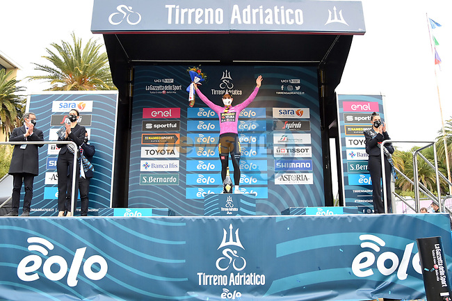 Belgian Champion Wout Van Aert (BEL) Team Jumbo-Visma wins Stage 7 and the points Maglia Ciclamino of Tirreno-Adriatico Eolo 2021, an individual time trial running 10.1km around San Benedetto del Tronto, Italy. 16th March 2021. <br /> Photo: LaPresse/Gian Mattia D'Alberto | Cyclefile<br /> <br /> All photos usage must carry mandatory copyright credit (© Cyclefile | LaPresse/Gian Mattia D'Alberto)