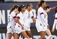 JACKSONVILLE, FL - NOVEMBER 10: Margaret Purce, Rose Lavelle #16, Andi Sullivan #25, Lynn Williams #27, Jessica McDonald #22 and Mallory Pugh #2 celebrate a goal during a game between Costa Rica and USWNT at TIAA Bank Field on November 10, 2019 in Jacksonville, Florida.