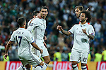 Real Madrid's Cristiano Ronaldo and James Rodriguez Lucas Vazquez and Marcelo Vieira during the match of Champions League group 6 round 1, between Real Madrid an Sporting Clube de Portugal at Santiago Bernabeu Stadium in Madrid September 14, 2016. (ALTERPHOTOS/Rodrigo Jimenez)