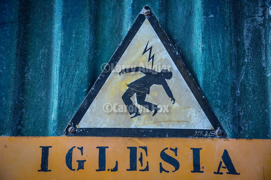 Danger, high voltage, Esglesia Nostra Senyora Dels Dolors, Manacor Cathedral, Manacor, Mallorca