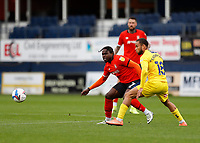 3rd October 2020; Kenilworth Road, Luton, Bedfordshire, England; English Football League Championship Football, Luton Town versus Wycombe Wanderers; Curtis Thompson of Wycombe Wanderers marking Pelly Ruddock of Luton Town