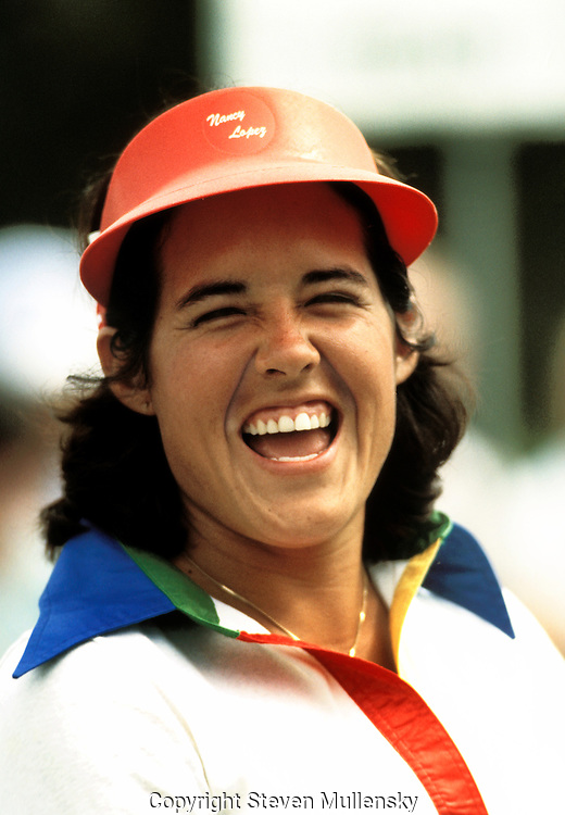 Nancy Lopez (born January 6, 1957, in Torrance, California) is an American professional golfer. She became a member of the LPGA Tour in 1977 and won 3 major championships and fourty-eight LPGA Tour victories in all..In her first full season on the LPGA Tour, 1978, Lopez won nine titles total, including five tournaments in a row. She made the cover of Sports Illustrated, won the Vare Trophy for lowest scoring average, LPGA Rookie of the Year, Player of the Year and was named the Associated Press Female Athlete of the Year. She won another eight times in 1979. Lopez won multiple times in each year from 1980 to 1984, although she played only half-seasons in 1983 and 1984 due to the birth of her first child....