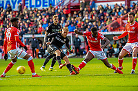 Leeds United's forward Samu Saiz (21) has his sho blocked by Barnsley's defender Andy Yiadom (17) during the Sky Bet Championship match between Barnsley and Leeds United at Oakwell, Barnsley, England on 25 November 2017. Photo by Stephen Buckley / PRiME Media Images.