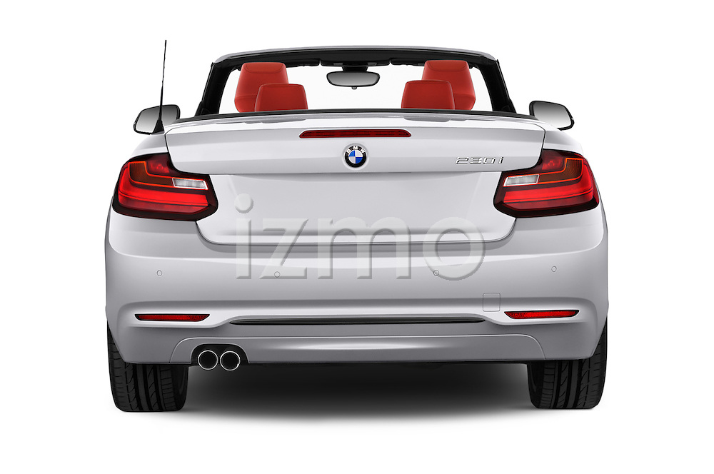 Straight rear view of 2017 BMW 2-Series 230i 2 Door Convertible Rear View  stock images