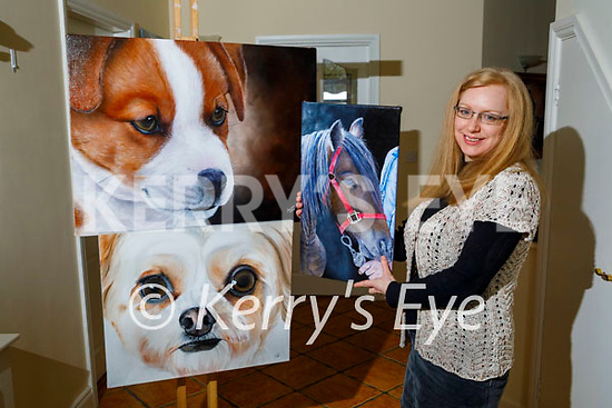 """Artist Susan Mills at home in Ballymac with some of her Animals and Birds paintings that will feature in her new book """" The Human Rescuers"""" which will be launched later this year."""