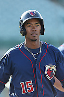 Teoscar Hernandez #15 of the Lancaster JetHawks during a game against the Lake Elsinore Storm at The Hanger on April 4, 2014 in Lancaster, California. Lake Elsinore defeated Lancaster, 6-1. (Larry Goren/Four Seam Images)