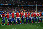 Atletico de Madrid´s players before the UEFA Champions League round of 16 second leg match between Atletico de Madrid and Bayer 04 Leverkusen at Vicente Calderon stadium in Madrid, Spain. March 17, 2015. (ALTERPHOTOS/Victor Blanco)