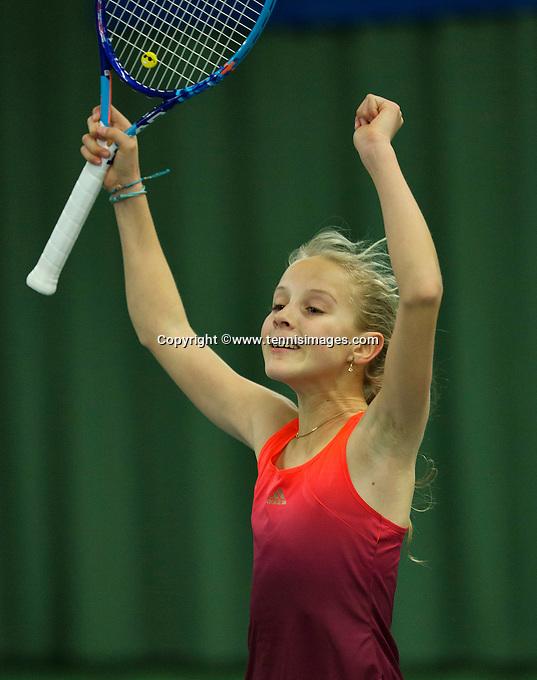 Rotterdam, The Netherlands, March 13, 2016,  TV Victoria, NOJK 12/16 years, Joelle Steur winner girls 12 years celebrates.<br /> Photo: Tennisimages/Henk Koster