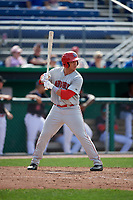 Auburn Doubledays left fielder Pablo O'Connor (28) at bat during a game against the Batavia Muckdogs on September 1, 2018 at Dwyer Stadium in Batavia, New York.  Auburn defeated Batavia 10-5.  (Mike Janes/Four Seam Images)