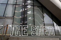 NEW YORK - NEW YORK - APRIL 02: View of The Shed sign at Hudson Yards on April 02, 2021 in New York. New York takes another step forward to reopening arts and entertainment, venues are allowed to welcome back people with the guidelines say indoor spaces can have up to 100 audience members and outdoor venues can have 200. (Photo by John Smith/VIEWpress)