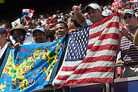 Panamanian and US fans cheered side by side for their teams. The United States defeated Panama 3-1 in a shoot out after a scoreless game to win the CONCACAF Gold Cup at Giant's Stadium, East Rutherford, NJ, on July 24, 2005.