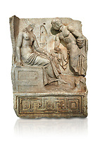 "Roman Sebasteion relief  sculpture of Io and Argos Aphrodisias Museum, Aphrodisias, Turkey.     Against a white background.<br /> <br /> A powerful hero is folding a sword gazing closely at a half naked and dishevelled young heroine who sits on a chest like stool. Between, on a pillar base stood a small, separately added statue of a goddess ( now missing). The scene follows a scheme used in the relief panels ""Io guarded by Argos"". Io was one of Zeus's lovers, and Argos was a watchful giant sent to guard her by Hera, Zeus's wife."