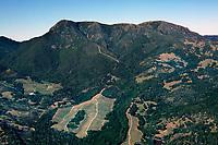 aerial photograph of vineyards on the slopes of Mount St. Helena, Calistoga, Napa County, California