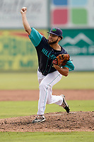 Starting pitcher Jordan Jones (36) of the Lynchburg Hillcats in a game against the Delmarva Shorebirds on Wednesday, August 11, 2021, at Bank of the James Stadium in Lynchburg, Virginia. (Tom Priddy/Four Seam Images)