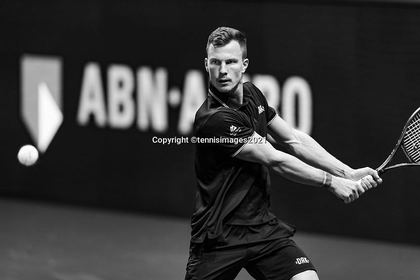 Rotterdam, The Netherlands, 4 march  2021, ABNAMRO World Tennis Tournament, Ahoy, Second round singles: Marton Fucsovics (HUN). <br /> Photo: www.tennisimages.com/