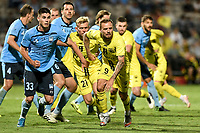 8th February 2021; Jubilee Stadium, Sydney, New South Wales, Australia; A League Football, Sydney Football Club versus Wellington Phoenix; David Ball of Wellington Phoenix and Patrick Wood of Sydney FC position themslves as they wait for a corner kick to arrive