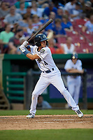 Kane County Cougars shortstop Ryan Dobson (4) at bat during a game against the West Michigan Whitecaps on July 19, 2018 at Northwestern Medicine Field in Geneva, Illinois.  Kane County defeated West Michigan 8-5.  (Mike Janes/Four Seam Images)