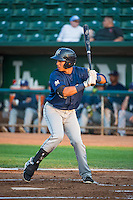Yerison Pena (4) of the Helena Brewers at bat against the Ogden Raptors in Pioneer League action at Lindquist Field on August 19, 2015 in Ogden, Utah. Ogden defeated Helena 4-2.  (Stephen Smith/Four Seam Images)