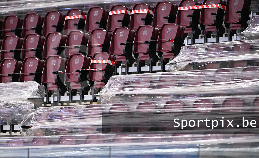 illustration picture showing empty seats and empty seats wrapped in plastic during the Womens International Friendly game between France and Switzerland at Stade Saint-Symphorien in Longeville-lès-Metz, France.