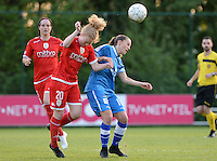20160513 - LIEGE , BELGIUM : duel pictured between Standard's Charlotte Tison (left) and Gent's Chloe Vande Velde during a soccer match between the women teams of  Standard Femina De Liege and KAA Gent Ladies , during the fifth matchday in the SUPERLEAGUE Playoff 1 , Friday 13 May 2016 . PHOTO SPORTPIX.BE / DAVID CATRY