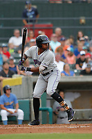 Winston-Salem Dash third baseman Ti'Quan Forbes (10) at bat during a game against the Myrtle Beach Pelicans at Ticketreturn.com Field at Pelicans Ballpark on July 23, 2018 in Myrtle Beach, South Carolina. Winston-Salem defeated Myrtle Beach 6-1. (Robert Gurganus/Four Seam Images)