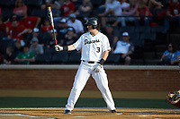 Bobby Seymour (3) of the Wake Forest Demon Deacons at bat against the North Carolina State Wolfpack at David F. Couch Ballpark on April 18, 2019 in  Winston-Salem, North Carolina. The Demon Deacons defeated the Wolfpack 7-3. (Brian Westerholt/Four Seam Images)
