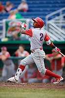 Williamsport Crosscutters designated hitter Brayan Gonzalez (2) follows through on a swing during a game against the Batavia Muckdogs on June 22, 2018 at Dwyer Stadium in Batavia, New York.  Williamsport defeated Batavia 9-7.  (Mike Janes/Four Seam Images)