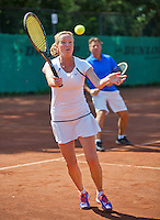 Netherlands, Amstelveen, August 23, 2015, Tennis,  National Veteran Championships, NVK, TV de Kegel,  Mixed final  35+, Mariette Verbruggen and her partner Frank Bitter<br /> Photo: Tennisimages/Henk Koster