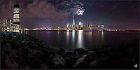 Rocks, Hudson River and Manhattan skyline, under the Supermoon of 2016