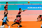 Nana Iwasaka of Japan (C) serves the ball during the FIVB Volleyball Nations League Hong Kong match between Japan and Argentina on May 31, 2018 in Hong Kong, Hong Kong. Photo by Marcio Rodrigo Machado / Power Sport Images