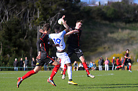 Action from the Central League football match between Western Suburbs and Miramar Rangers at Endeavour Park in Wellington, New Zealand on Sunday, 9 August 2020. Photo: Dave Lintott / lintottphoto.co.nz