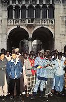 - immigrated Africans from the Senegal during a demonstration for the right to the house and to the job in the Loggia square....- immigrati africani dal Senegal durante una manifestazione per il diritto alla casa e al lavoro in piazza della Loggia