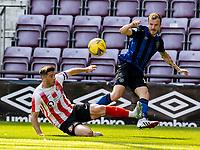 17th July 2021; Tynecastle Park, Edinburgh, Scotland;Pre Season Friendly Football, Heart of Midlothian versus Sunderland; Andrew Halliday of Hearts gets his cross past Lynden Gooch of Sunderland FC