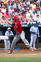 North Carolina State Wolfpack outfielder Brett Williams #3 bats during Game 3 of the 2013 Men's College World Series between the North Carolina State Wolfpack and North Carolina Tar Heels at TD Ameritrade Park on June 16, 2013 in Omaha, Nebraska. The Wolfpack defeated the Tar Heels 8-1. (Brace Hemmelgarn/Four Seam Images)