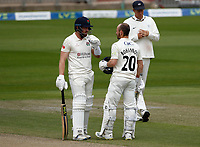 29th May 2021; Emirates Old Trafford, Manchester, Lancashire, England; County Championship Cricket, Lancashire versus Yorkshire, Day 3; Lancashire batsmen Danny Lamb and Josh Bohannon compare notes on the 3rd day as they put Lancashire in a commanding lead with a 150 partnership for the seventh wicket