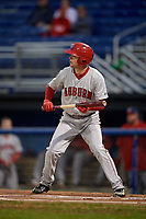 Auburn Doubledays center fielder Nick Choruby (4) squares around to bunt during a game against the Batavia Muckdogs on September 6, 2017 at Dwyer Stadium in Batavia, New York.  Auburn defeated Batavia 6-3.  (Mike Janes/Four Seam Images)