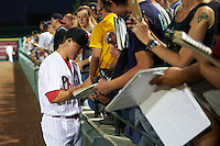 Scottsdale Scorpions Scott Kingery (6), of the Philadelphia Phillies organization, signs autographs before a game against the Salt River Rafters on October 12, 2016 at Scottsdale Stadium in Scottsdale, Arizona.  Salt River defeated Scottsdale 6-4.  (Mike Janes/Four Seam Images)