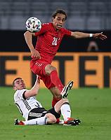 2nd June 2021, Tivoli Stadion, Innsbruck, Austria; International football friendly, Germany versus Denmark;  Robin Gosens left, Germany vs Yussuf Poulsen right, Denmark