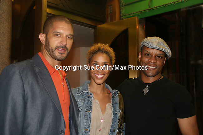 Guiding Light's Kevin Mambo stars in the play Ruined and poses with OLTL's Terrell Tilford and wife Victoria Platt at The Manhattan Theatre Club at 131 55th St, New York City, New York. The play runs til September 6, 2009. (Photo by Sue Coflin/Max Photo)